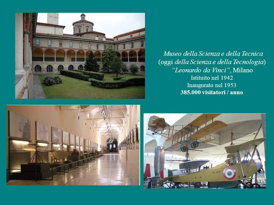 Museo della Scienza e della Tecnica (oggi della Scienza e della Tecnologia) Leonardo da Vinci , Milano Istituito nel 1942 Inaugurato nel 1953 385.000 visitatori / anno