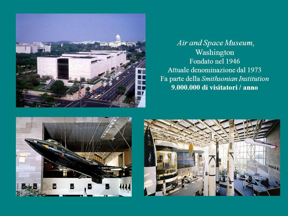 Air and Space Museum, Washington Fondato nel 1946 Attuale denominazione dal 1973 Fa parte della Smithsonian Institution 9.000.000 di visitatori / anno