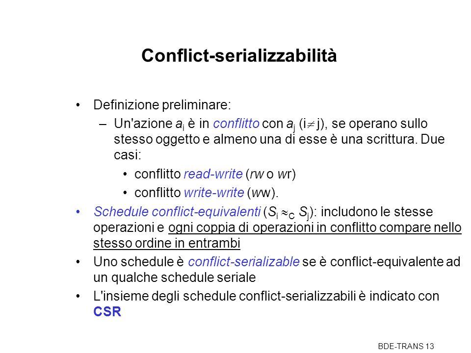 BDE-TRANS 13 Conflict-serializzabilità Definizione preliminare: –Un azione a i è in conflitto con a j (i  j), se operano sullo stesso oggetto e almeno una di esse è una scrittura.