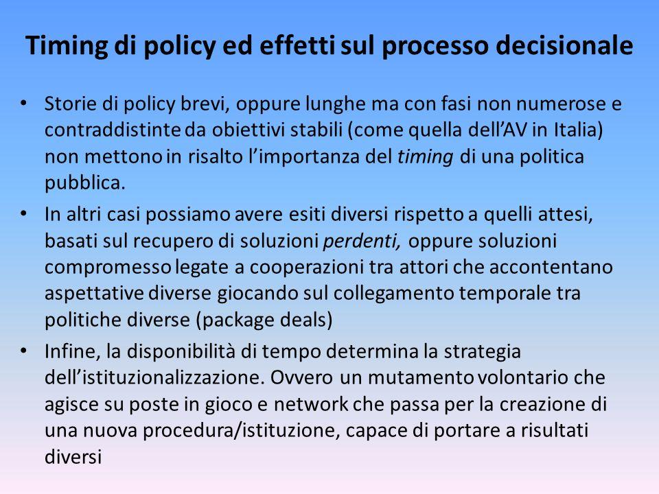 Timing di policy ed effetti sul processo decisionale Storie di policy brevi, oppure lunghe ma con fasi non numerose e contraddistinte da obiettivi stabili (come quella dell'AV in Italia) non mettono in risalto l'importanza del timing di una politica pubblica.