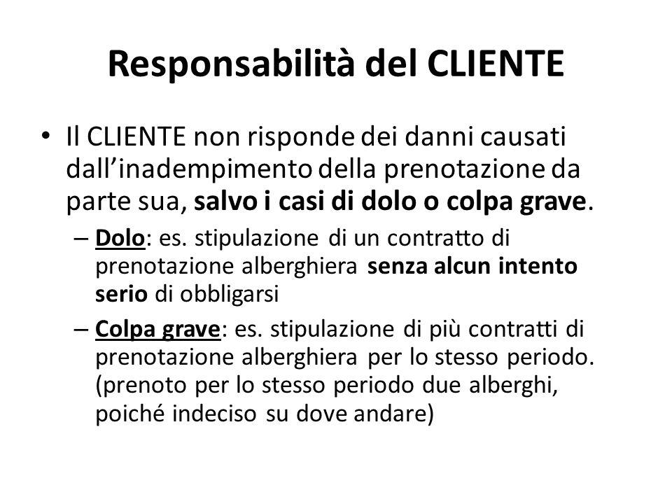 Responsabilità del CLIENTE Il CLIENTE non risponde dei danni causati dall'inadempimento della prenotazione da parte sua, salvo i casi di dolo o colpa grave.