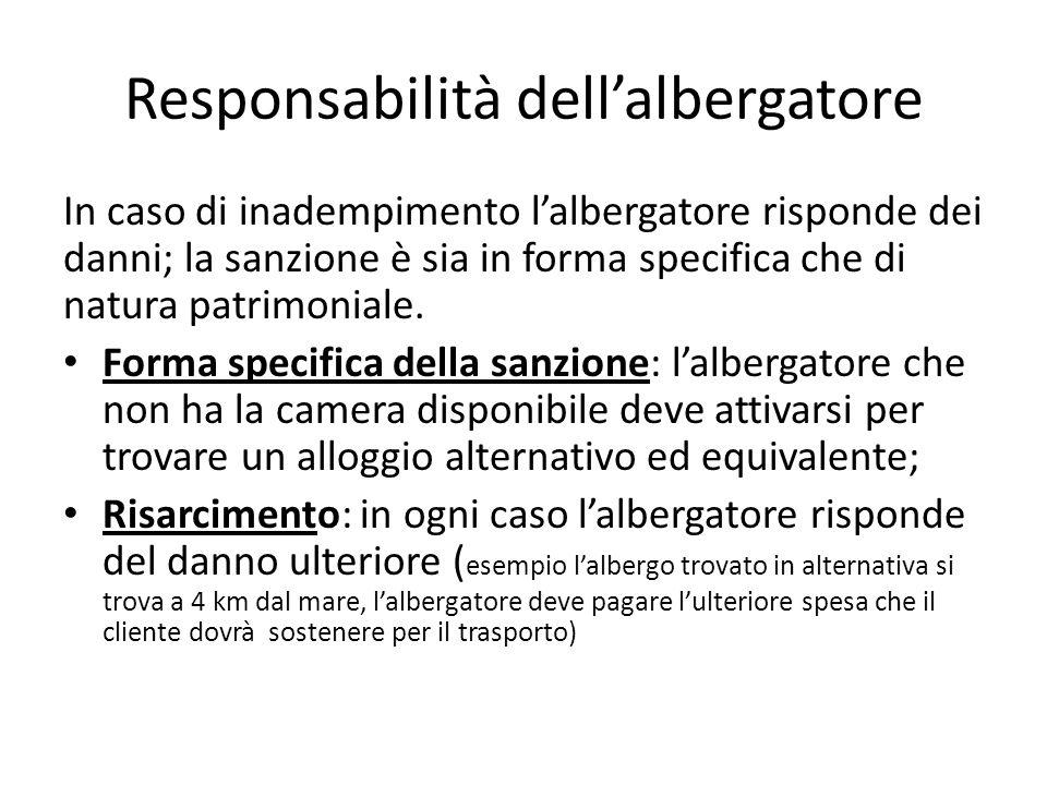 Responsabilità dell'albergatore In caso di inadempimento l'albergatore risponde dei danni; la sanzione è sia in forma specifica che di natura patrimoniale.