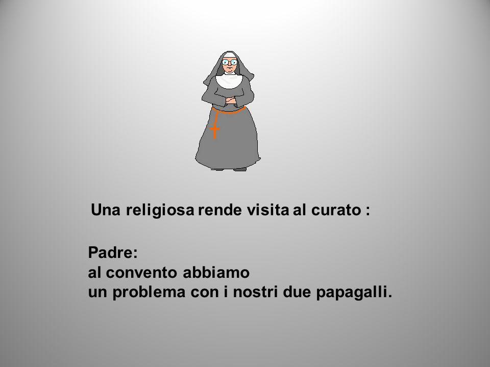 Una religiosa rende visita al curato : Padre: al convento abbiamo un problema con i nostri due papagalli.