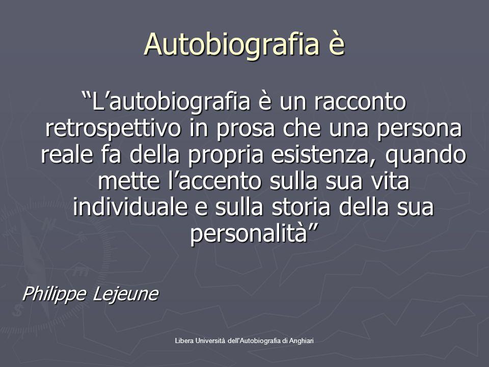 """Libera Università dell'Autobiografia di Anghiari Autobiografia è """"L'autobiografia è un racconto retrospettivo in prosa che una persona reale fa della"""