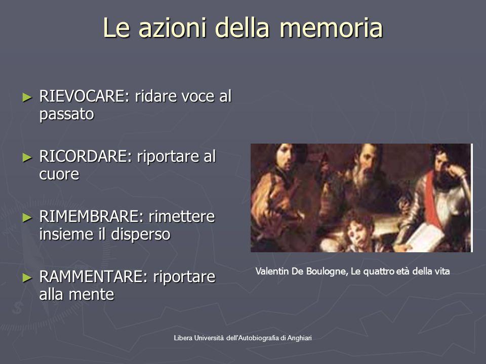 Libera Università dell'Autobiografia di Anghiari Le azioni della memoria ► RIEVOCARE: ridare voce al passato ► RICORDARE: riportare al cuore ► RIMEMBR