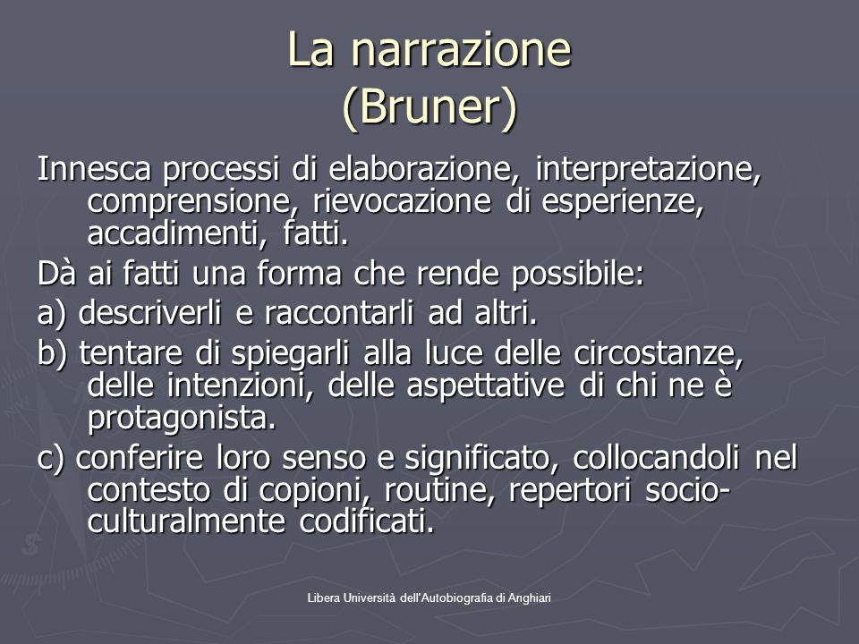 Libera Università dell'Autobiografia di Anghiari La narrazione (Bruner) Innesca processi di elaborazione, interpretazione, comprensione, rievocazione