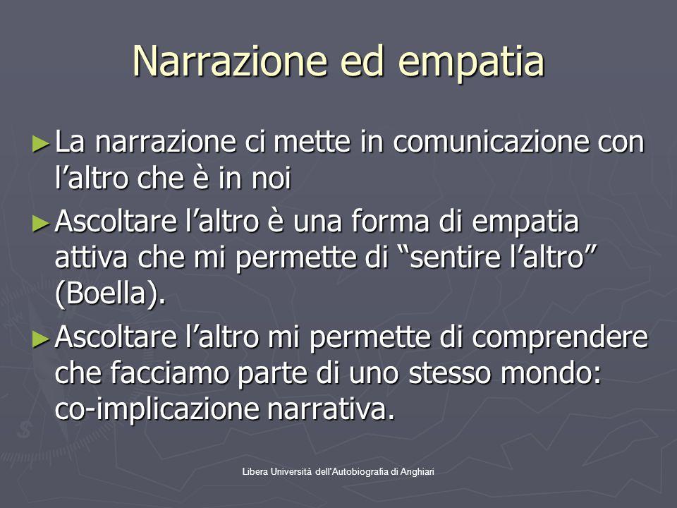 Libera Università dell'Autobiografia di Anghiari Narrazione ed empatia ► La narrazione ci mette in comunicazione con l'altro che è in noi ► Ascoltare