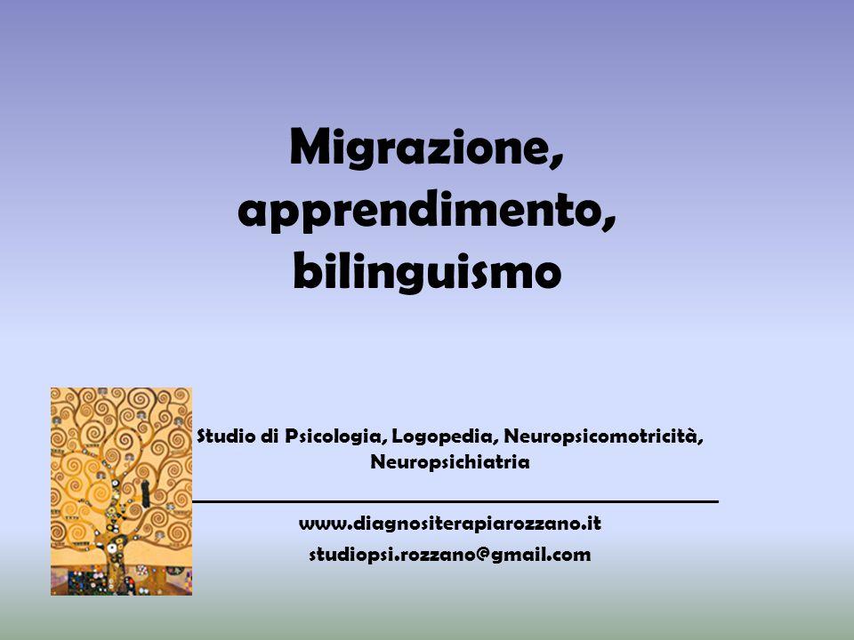 Migrazione, apprendimento, bilinguismo Studio di Psicologia, Logopedia, Neuropsicomotricità, Neuropsichiatria _______________________________________________________ www.diagnositerapiarozzano.it studiopsi.rozzano@gmail.com