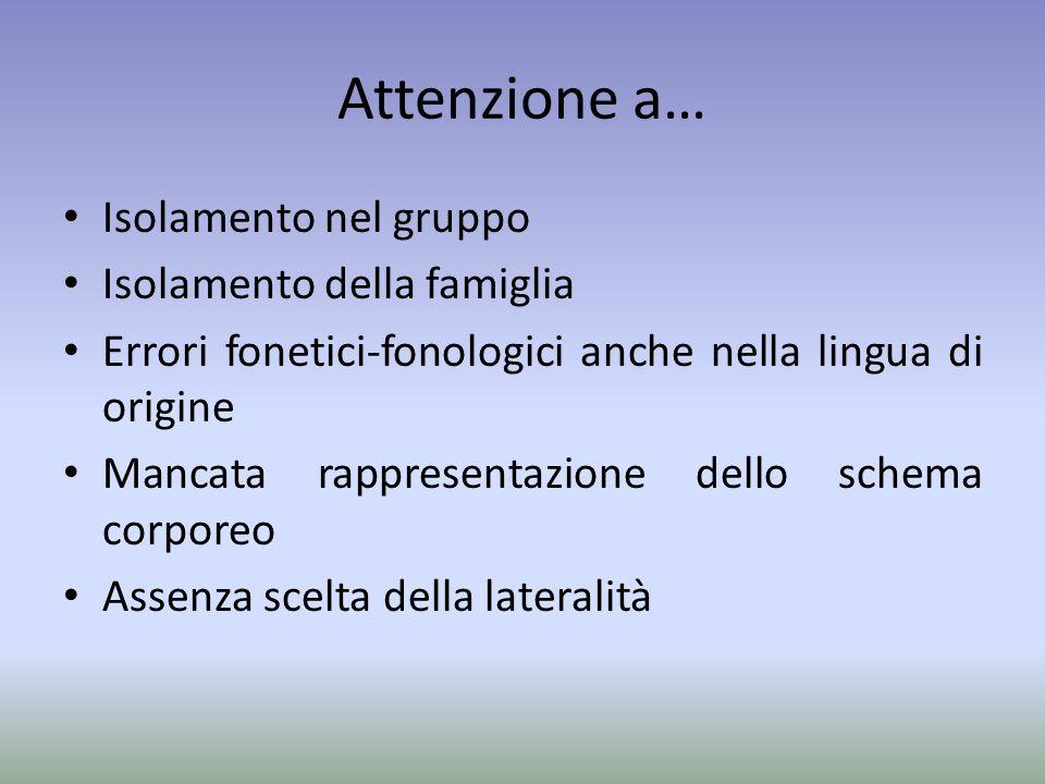 Attenzione a… Isolamento nel gruppo Isolamento della famiglia Errori fonetici-fonologici anche nella lingua di origine Mancata rappresentazione dello schema corporeo Assenza scelta della lateralità