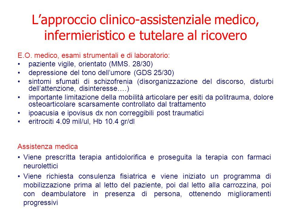 L'approccio clinico-assistenziale medico, infermieristico e tutelare al ricovero E.O. medico, esami strumentali e di laboratorio: paziente vigile, ori