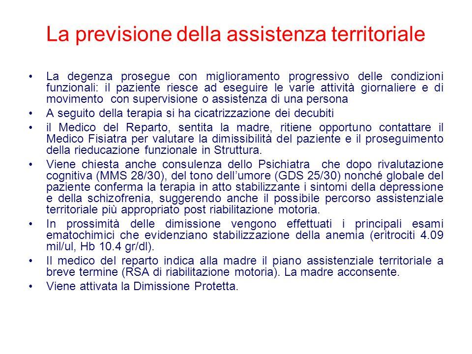 La previsione della assistenza territoriale La degenza prosegue con miglioramento progressivo delle condizioni funzionali: il paziente riesce ad esegu