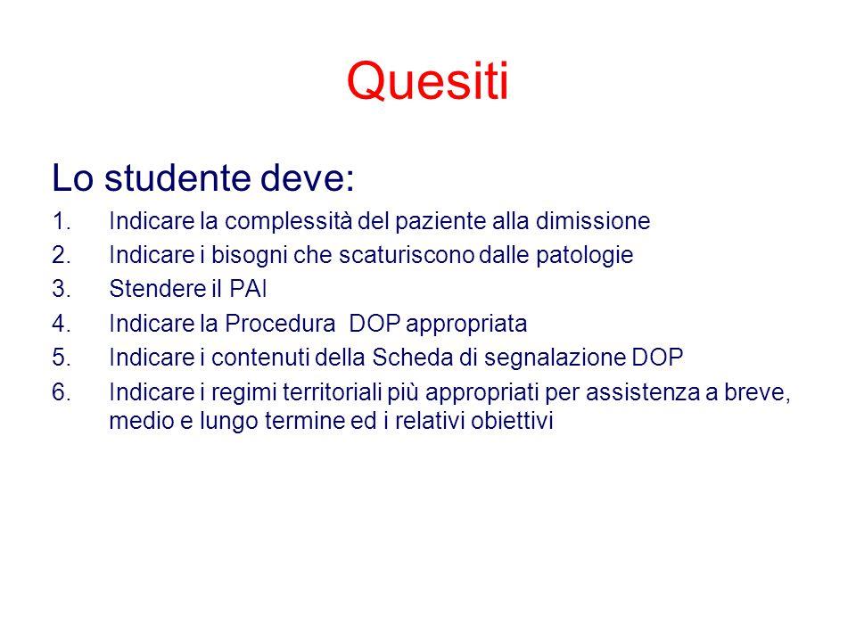 Quesiti Lo studente deve: 1.Indicare la complessità del paziente alla dimissione 2.Indicare i bisogni che scaturiscono dalle patologie 3.Stendere il P