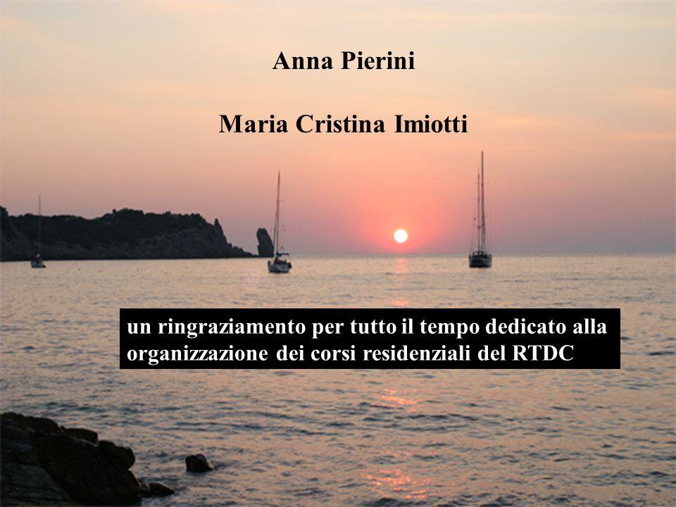 Anna Pierini Maria Cristina Imiotti un ringraziamento per tutto il tempo dedicato alla organizzazione dei corsi residenziali del RTDC