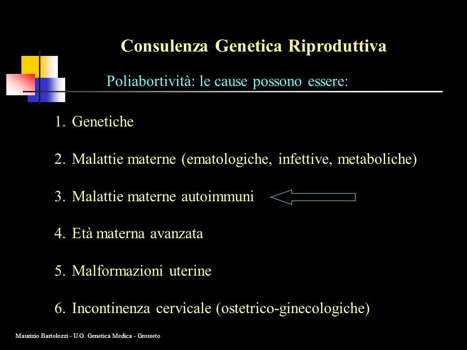 Consulenza Genetica Riproduttiva Poliabortività: le cause possono essere: 1.Genetiche 2.Malattie materne (ematologiche, infettive, metaboliche) 3.Malattie materne autoimmuni 4.Età materna avanzata 5.Malformazioni uterine 6.Incontinenza cervicale (ostetrico-ginecologiche) Maurizio Bartolozzi - U.O.