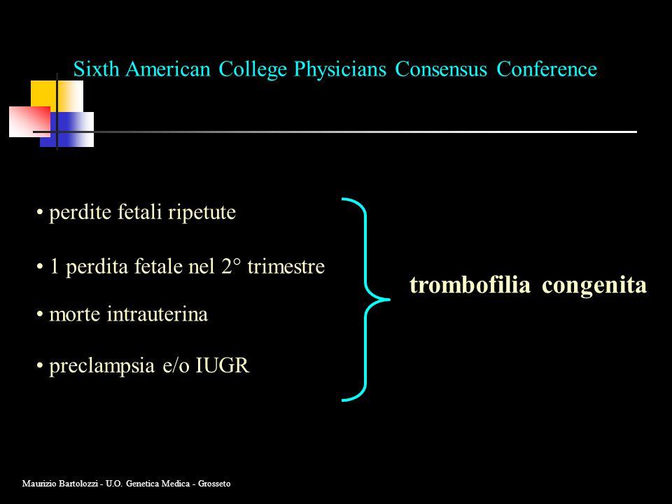 trombofilia congenita Sixth American College Physicians Consensus Conference perdite fetali ripetute 1 perdita fetale nel 2° trimestre morte intrauterina preclampsia e/o IUGR Maurizio Bartolozzi - U.O.