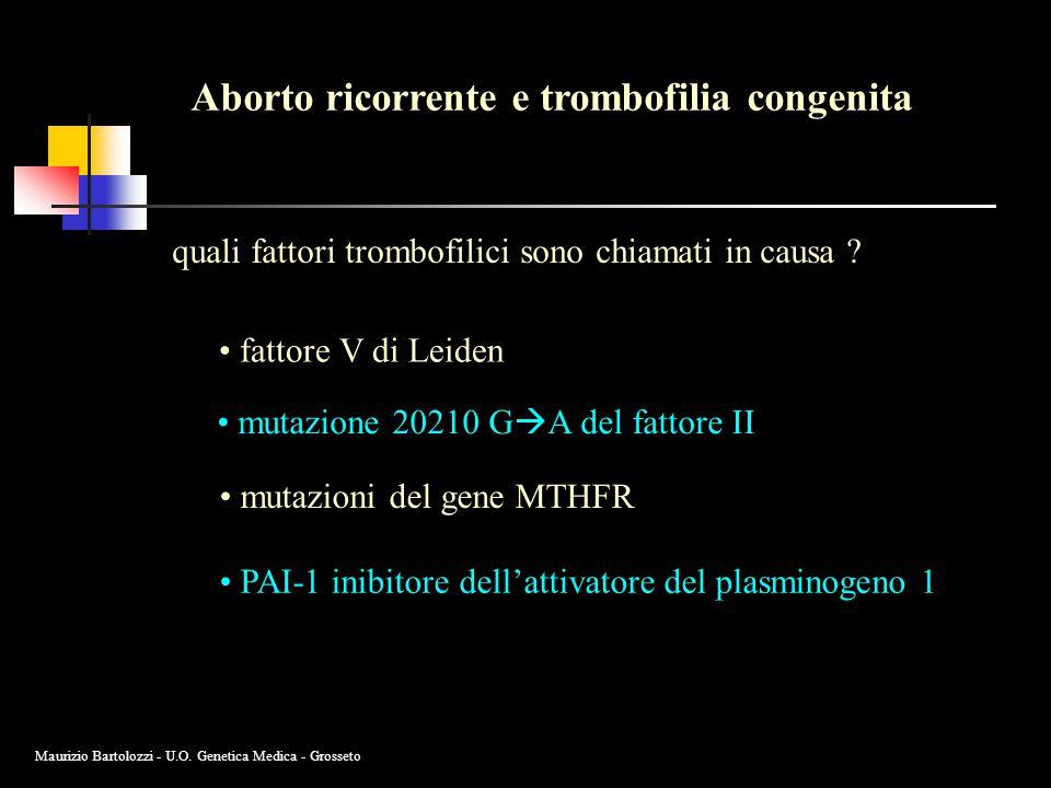 Aborto ricorrente e trombofilia congenita quali fattori trombofilici sono chiamati in causa ? fattore V di Leiden mutazione 20210 G  A del fattore II