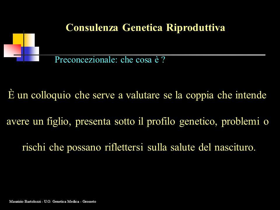 Consulenza Genetica Riproduttiva Preconcezionale: che cosa è ? È un colloquio che serve a valutare se la coppia che intende avere un figlio, presenta