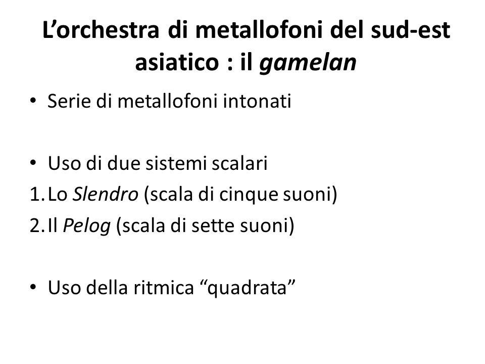 L'orchestra di metallofoni del sud-est asiatico : il gamelan Serie di metallofoni intonati Uso di due sistemi scalari 1.Lo Slendro (scala di cinque su