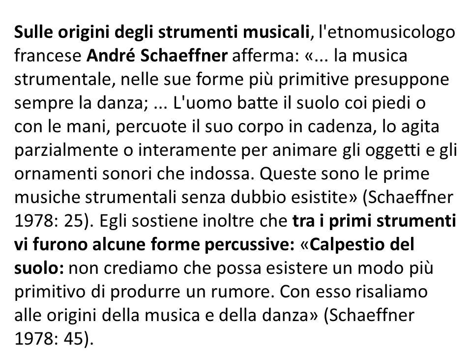 Sulle origini degli strumenti musicali, l'etnomusicologo francese André Schaeffner afferma: «... la musica strumentale, nelle sue forme più primitive