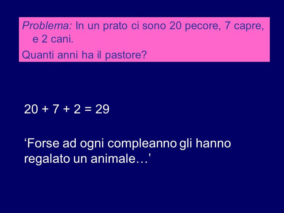 Problema: In un prato ci sono 20 pecore, 7 capre, e 2 cani. Quanti anni ha il pastore? 20 + 7 + 2 = 29 'Forse ad ogni compleanno gli hanno regalato un
