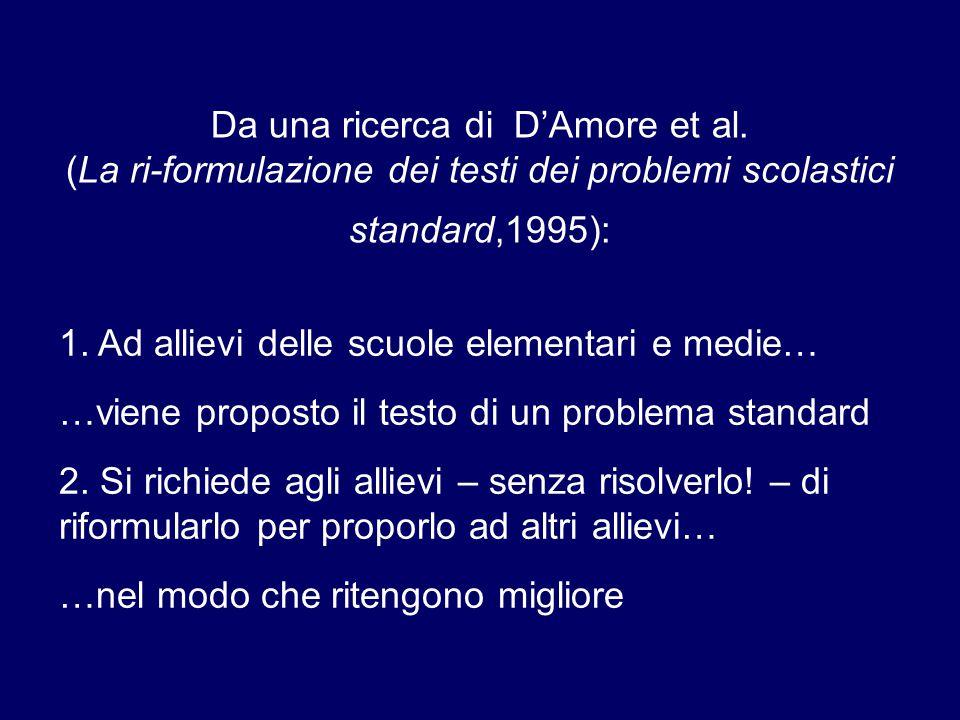 Da una ricerca di D'Amore et al. (La ri-formulazione dei testi dei problemi scolastici standard,1995): 1. Ad allievi delle scuole elementari e medie…