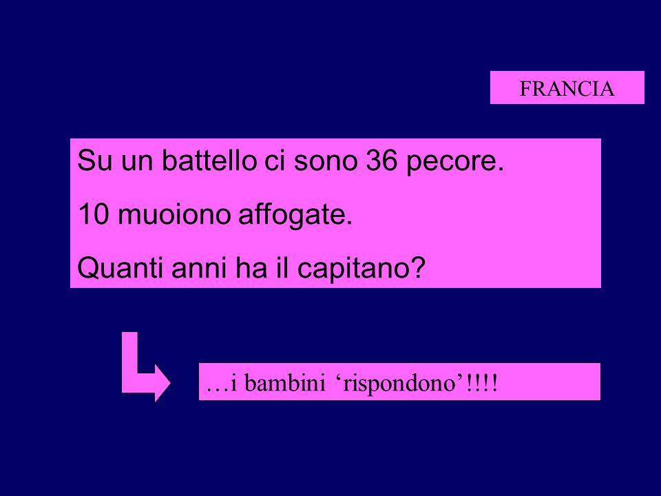 FRANCIA …i bambini 'rispondono'!!!! Su un battello ci sono 36 pecore. 10 muoiono affogate. Quanti anni ha il capitano?