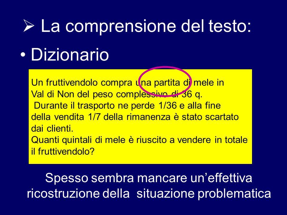  La comprensione del testo: Dizionario Un fruttivendolo compra una partita di mele in Val di Non del peso complessivo di 36 q. Durante il trasporto n