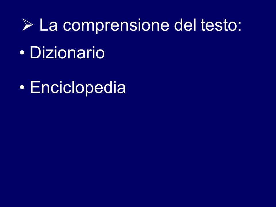  La comprensione del testo: Dizionario Enciclopedia