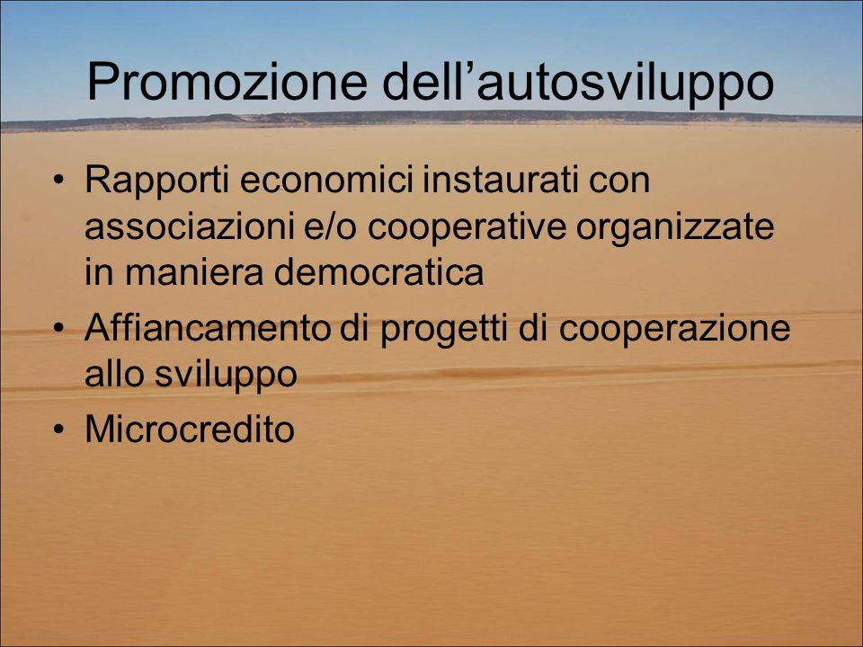Promozione dell'autosviluppo Rapporti economici instaurati con associazioni e/o cooperative organizzate in maniera democratica Affiancamento di progetti di cooperazione allo sviluppo Microcredito