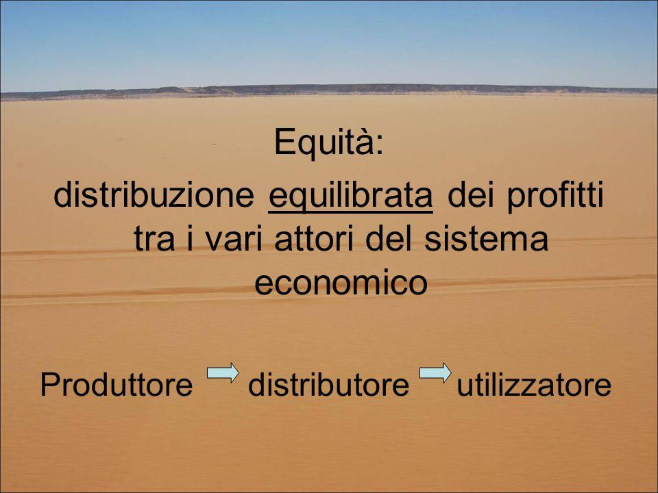 Equità: distribuzione equilibrata dei profitti tra i vari attori del sistema economico Produttore distributore utilizzatore