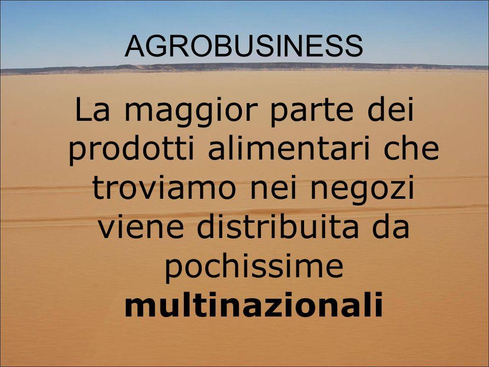 AGROBUSINESS La maggior parte dei prodotti alimentari che troviamo nei negozi viene distribuita da pochissime multinazionali