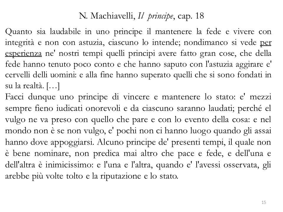 N.Machiavelli, Il principe, cap.