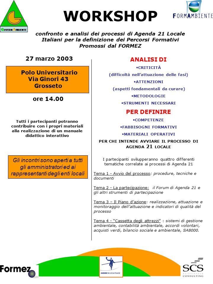ANALISI DI CRITICITÀ (difficoltà nell'attuazione delle fasi) ATTENZIONI (aspetti fondamentali da curare) METODOLOGIE STRUMENTI NECESSARI PER DEFINIRE COMPETENZE FABBISOGNI FORMATIVI MATERIALI OPERATIVI PER CHI INTENDE AVVIARE IL PROCESSO DI AGENDA 21 LOCALE WORKSHOP confronto e analisi dei processi di Agenda 21 Locale Italiani per la definizione dei Percorsi Formativi Promossi dal FORMEZ I partecipanti svilupperanno quattro differenti tematiche correlate ai processi di Agenda 21 Tema 1 - Avvio del processo: procedure, tecniche e documenti Tema 2 - La partecipazione: il Forum di Agenda 21 e gli altri strumenti di partecipazione Tema 3 – Il Piano d'azione: realizzazione, attuazione e monitoraggio dell'attuazione e indicatori di qualità del processo Tema 4 - Cassetta degli attrezzi : sistemi di gestione ambientale, contabilità ambientale, accordi volontari, acquisti verdi, bilancio sociale e ambientale, SA8000.