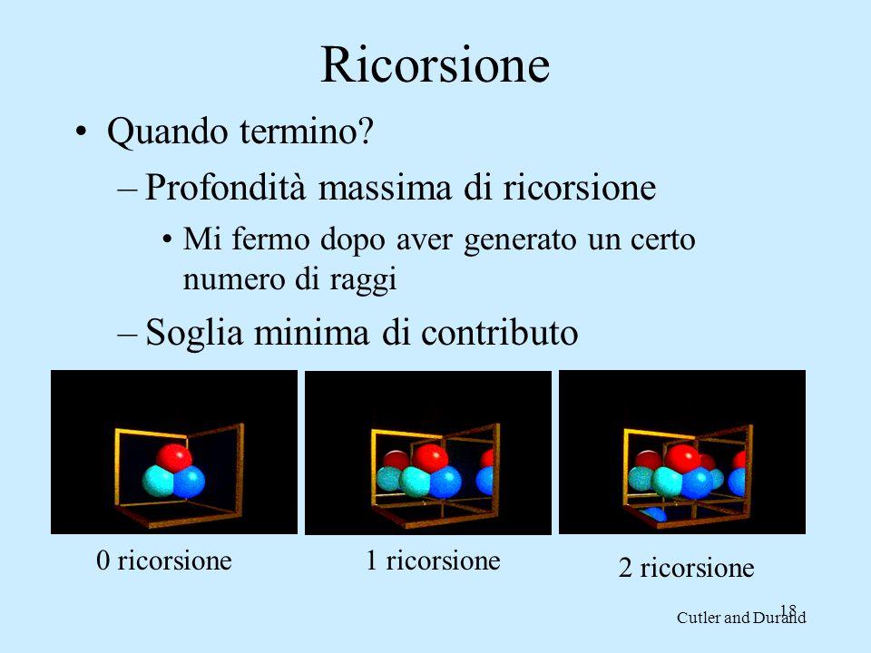 17 Ray tracing Quando un raggio incontra un oggetto si applica il modello di illuminazione locale e il raggio viene propagato ricorsivamente in: 1.Un raggio riflesso specularmente (se k s > 0), è così possibile vedere oggetti riflessi su altri 2.Un raggio rifratto specularmente (se k t > 0), è così possibile vedere oggetti attraverso altri 3.Tanti raggi diretti verso le sorgenti luminose per determinare se sono visibili direttamente, è così possibile calcolare le ombre