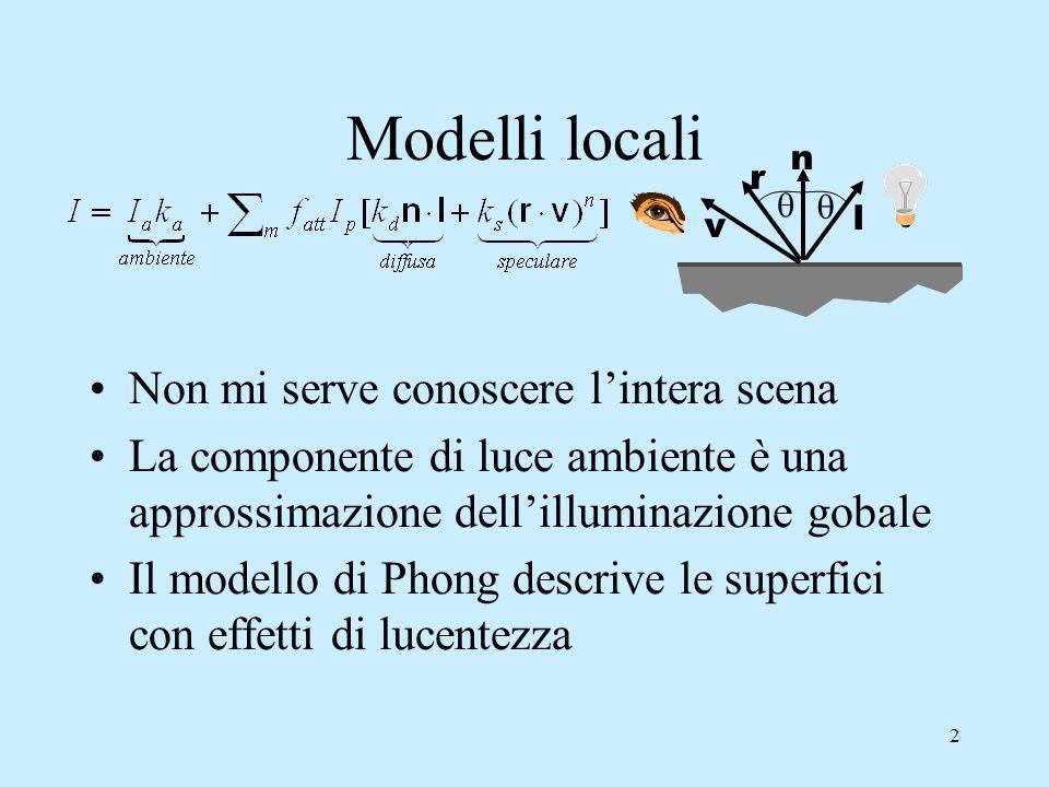 2 Modelli locali Non mi serve conoscere l'intera scena La componente di luce ambiente è una approssimazione dell'illuminazione gobale Il modello di Phong descrive le superfici con effetti di lucentezza  l n r  v