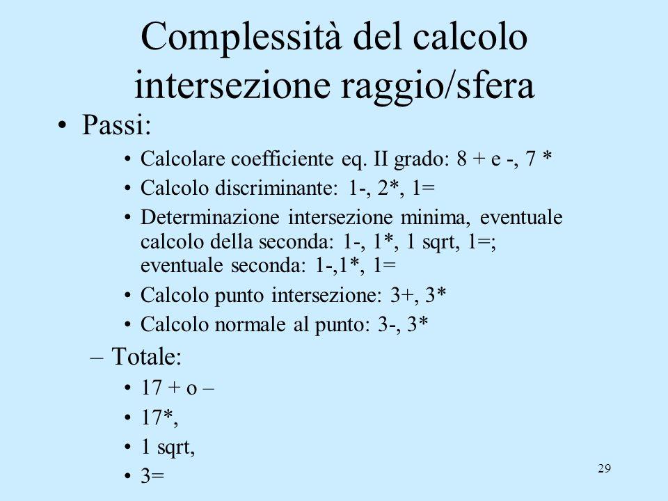 28 Intersezione raggio/sfera Equazione quadratica, 2 soluzioni: –Se complesse non c'è intersezione –Se reali ordinare le soluzioni t 0 e t 1 : il minimo rappresenta la prima intersezione –Il punto intersezione (x i,y i,z i ) è: –La normale alla superficie è: