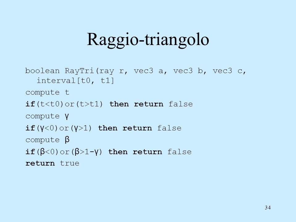 33 Raggio-triangolo Equazione del triangolo Ho un sistema lineare in 3 equazioni e tre incognite a b c p