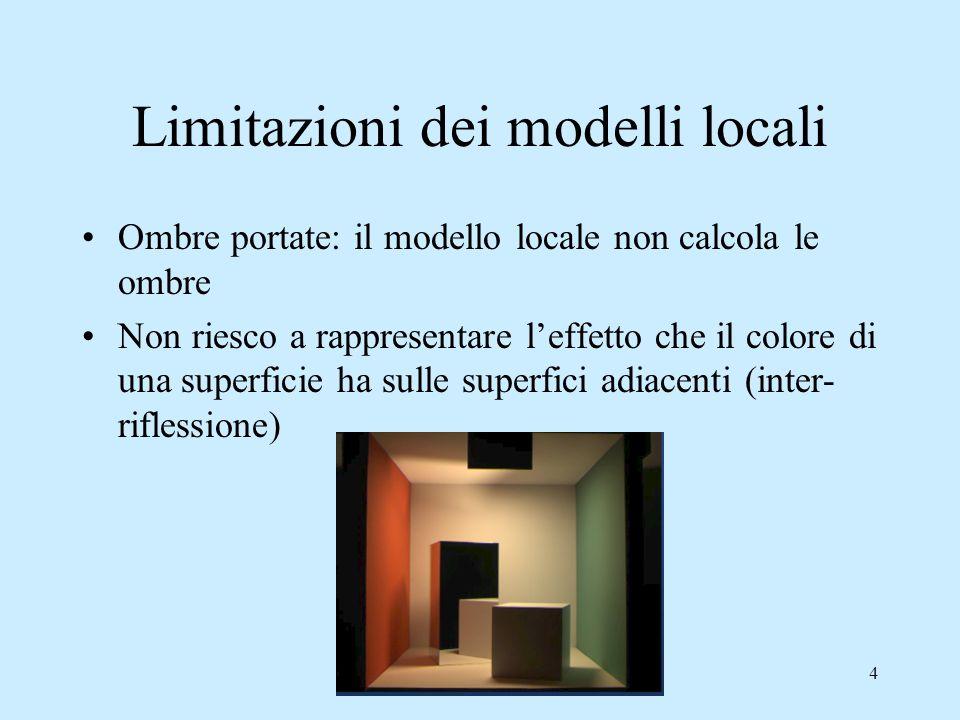 4 Limitazioni dei modelli locali Ombre portate: il modello locale non calcola le ombre Non riesco a rappresentare l'effetto che il colore di una superficie ha sulle superfici adiacenti (inter- riflessione)