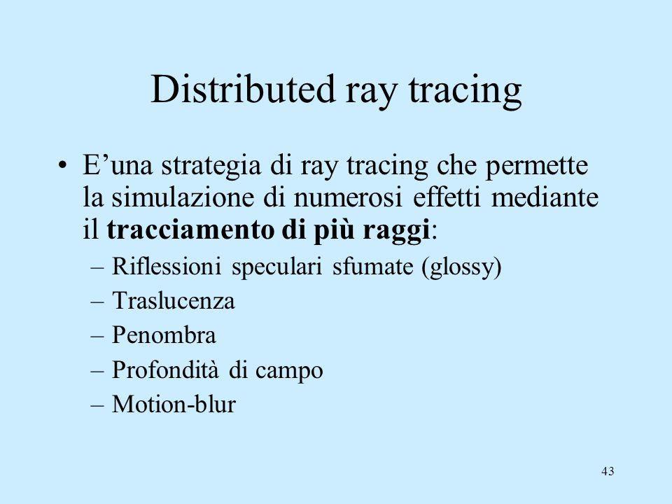 42 Distributed ray tracing Le immagini prodotte con il ray tracing visto sino ad ora sono molto innaturali: –Riflessioni speculari nette –Ombre nette –Seghettature
