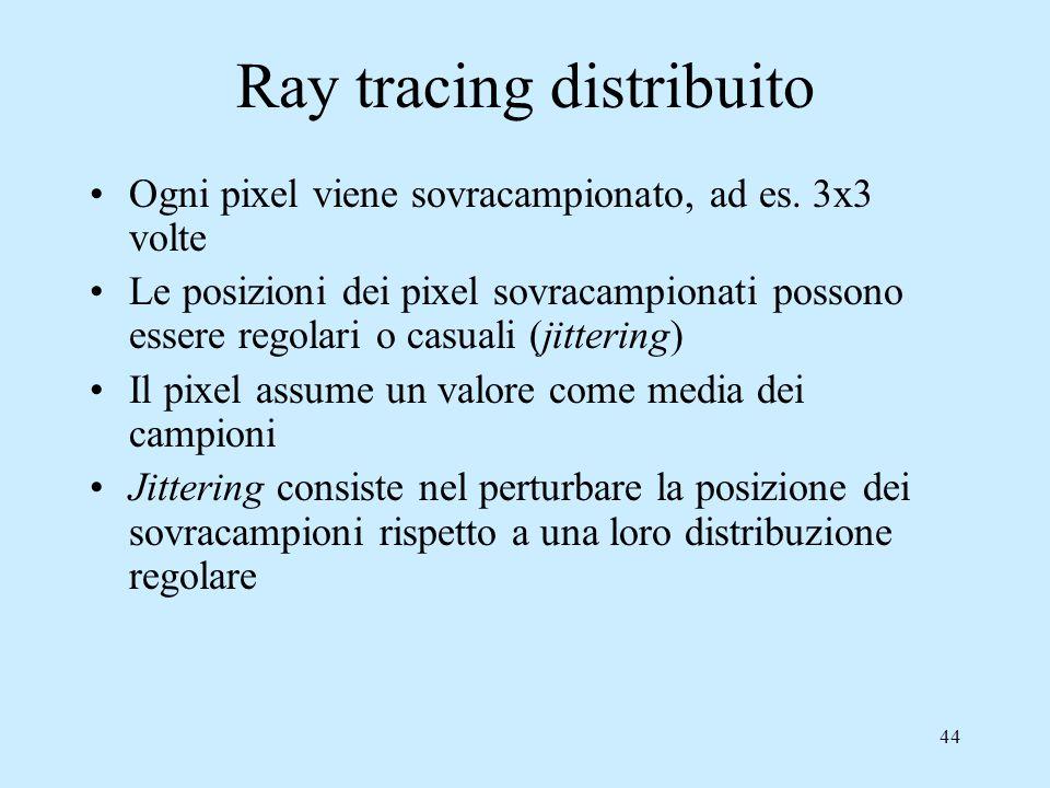 43 Distributed ray tracing E'una strategia di ray tracing che permette la simulazione di numerosi effetti mediante il tracciamento di più raggi: –Riflessioni speculari sfumate (glossy) –Traslucenza –Penombra –Profondità di campo –Motion-blur