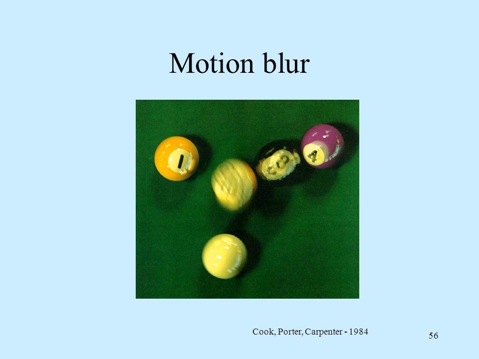 55 Jittering per motion blur Si può sovracampionare l'immagine temporalmente, usando matrice di jitter a istanti di tempo distinti La maggiore velocità di un oggetto esalta l'effetto mosso