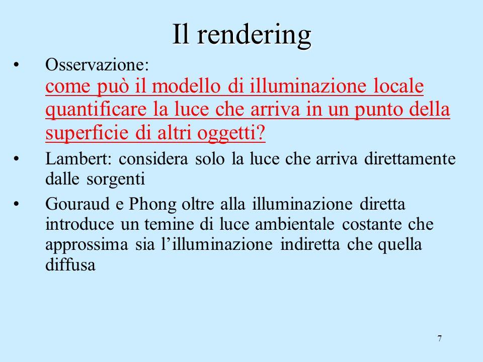7 Il rendering Osservazione: come può il modello di illuminazione locale quantificare la luce che arriva in un punto della superficie di altri oggetti.
