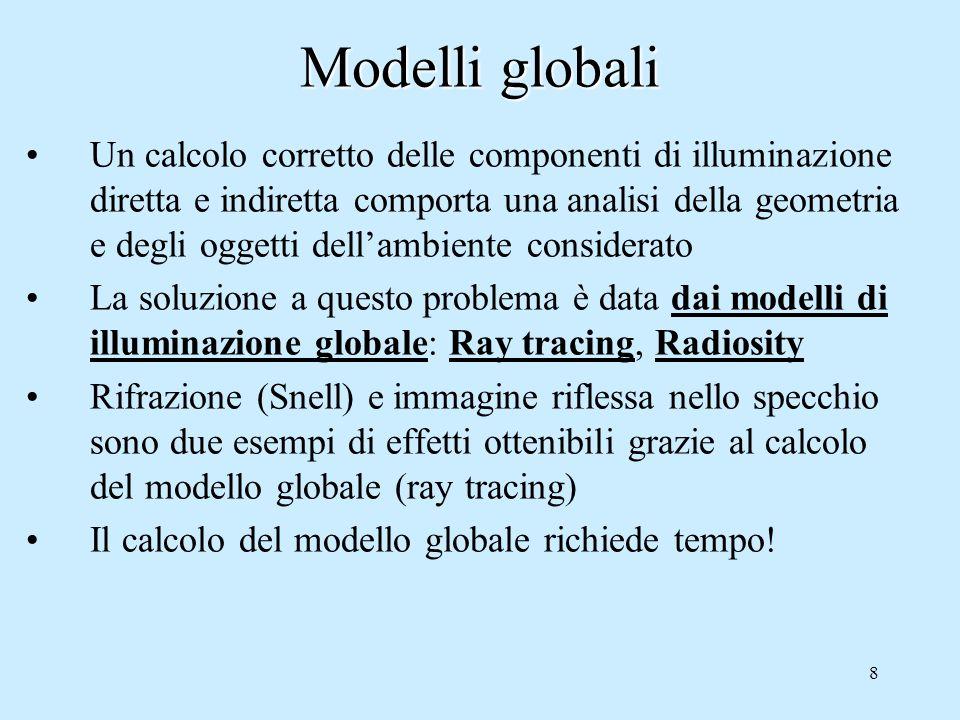 8 Modelli globali Un calcolo corretto delle componenti di illuminazione diretta e indiretta comporta una analisi della geometria e degli oggetti dell'ambiente considerato La soluzione a questo problema è data dai modelli di illuminazione globale: Ray tracing, Radiosity Rifrazione (Snell) e immagine riflessa nello specchio sono due esempi di effetti ottenibili grazie al calcolo del modello globale (ray tracing) Il calcolo del modello globale richiede tempo!