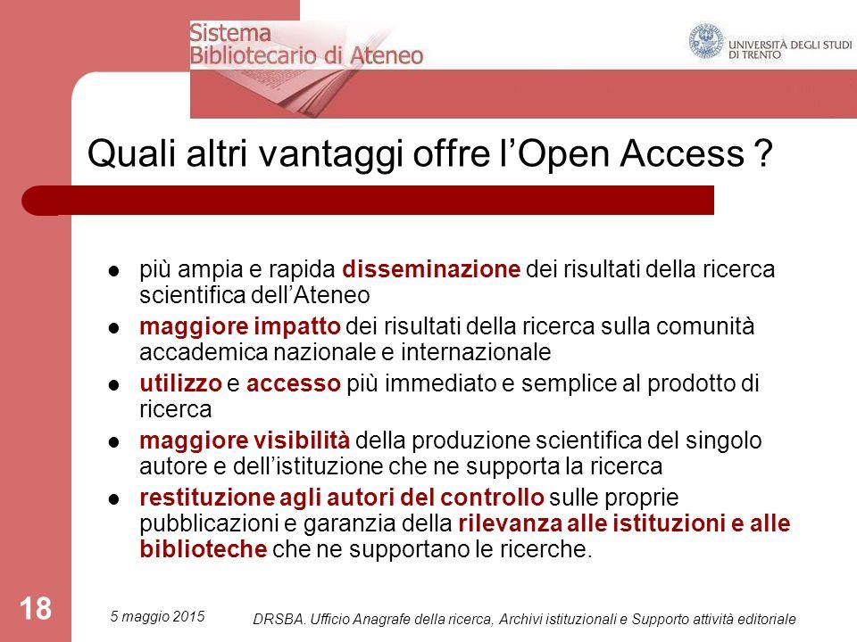 Quali altri vantaggi offre l'Open Access .