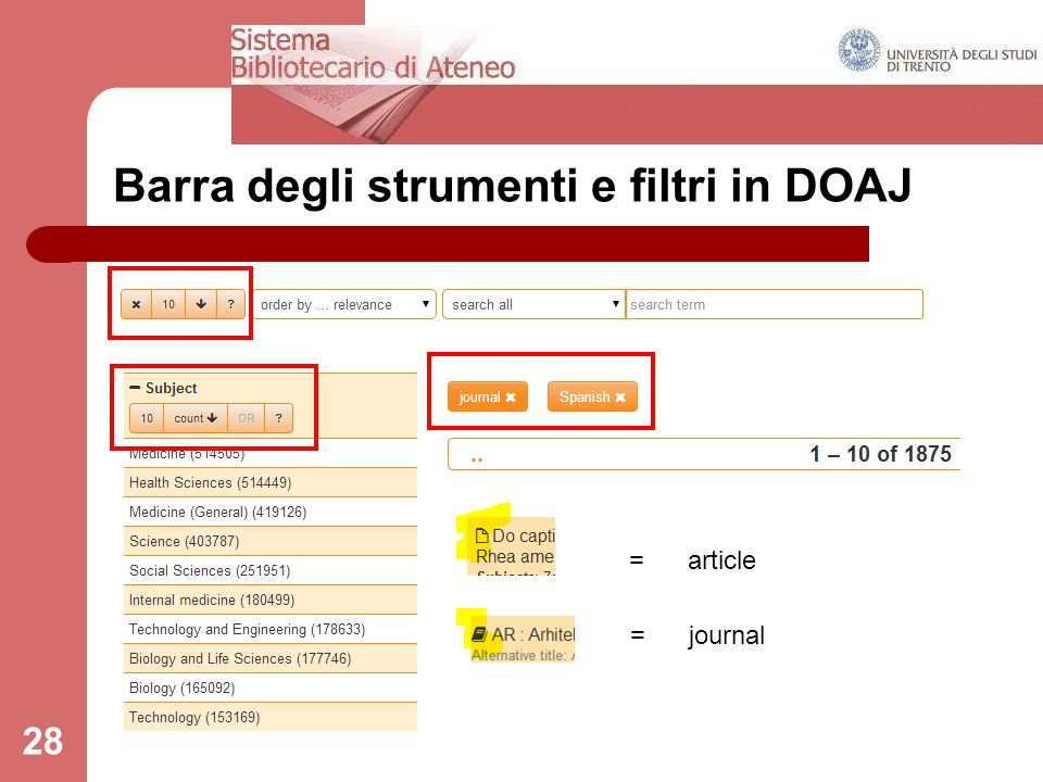 28 Barra degli strumenti e filtri in DOAJ = article = journal