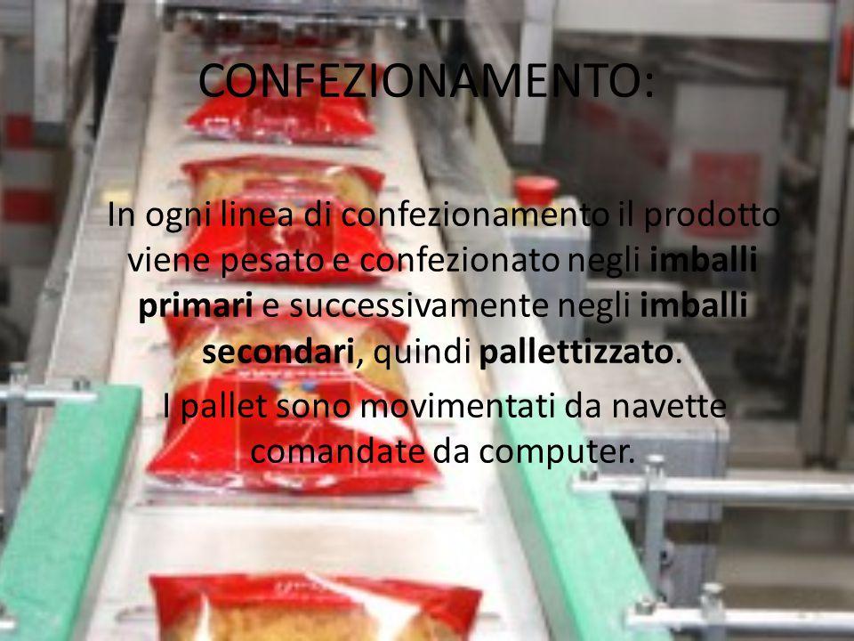 CONFEZIONAMENTO: In ogni linea di confezionamento il prodotto viene pesato e confezionato negli imballi primari e successivamente negli imballi second