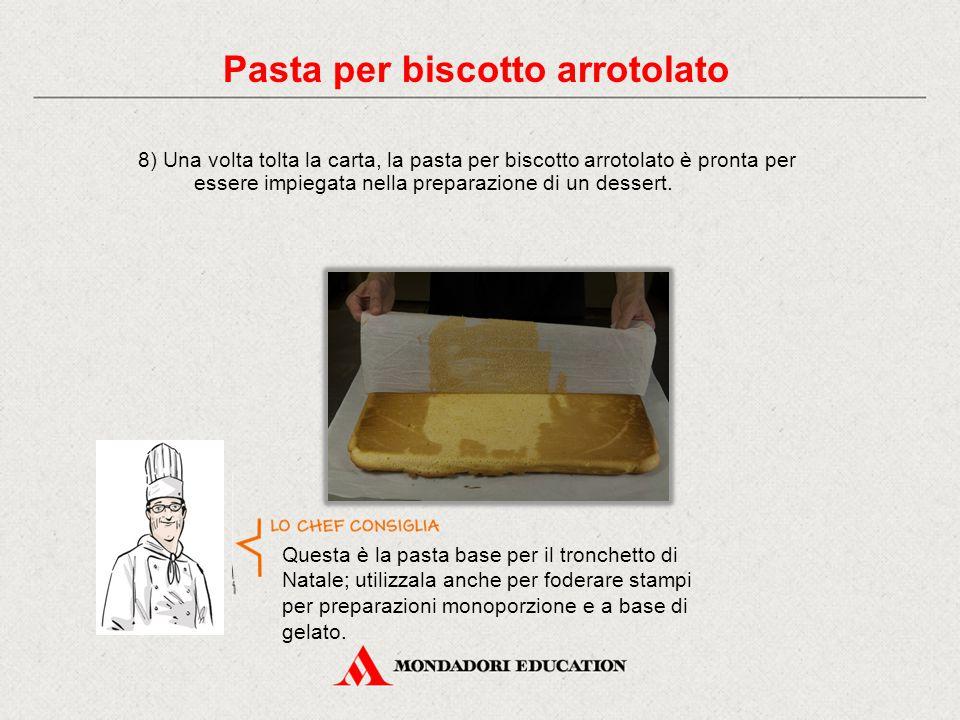 8) Una volta tolta la carta, la pasta per biscotto arrotolato è pronta per essere impiegata nella preparazione di un dessert.