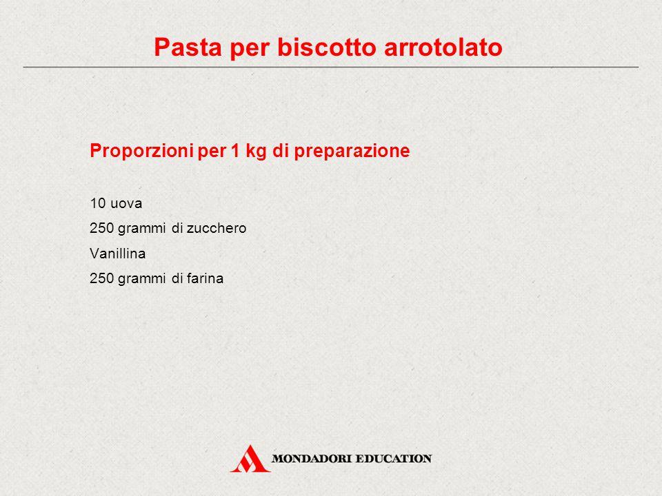 Proporzioni per 1 kg di preparazione 10 uova 250 grammi di zucchero Vanillina 250 grammi di farina Pasta per biscotto arrotolato