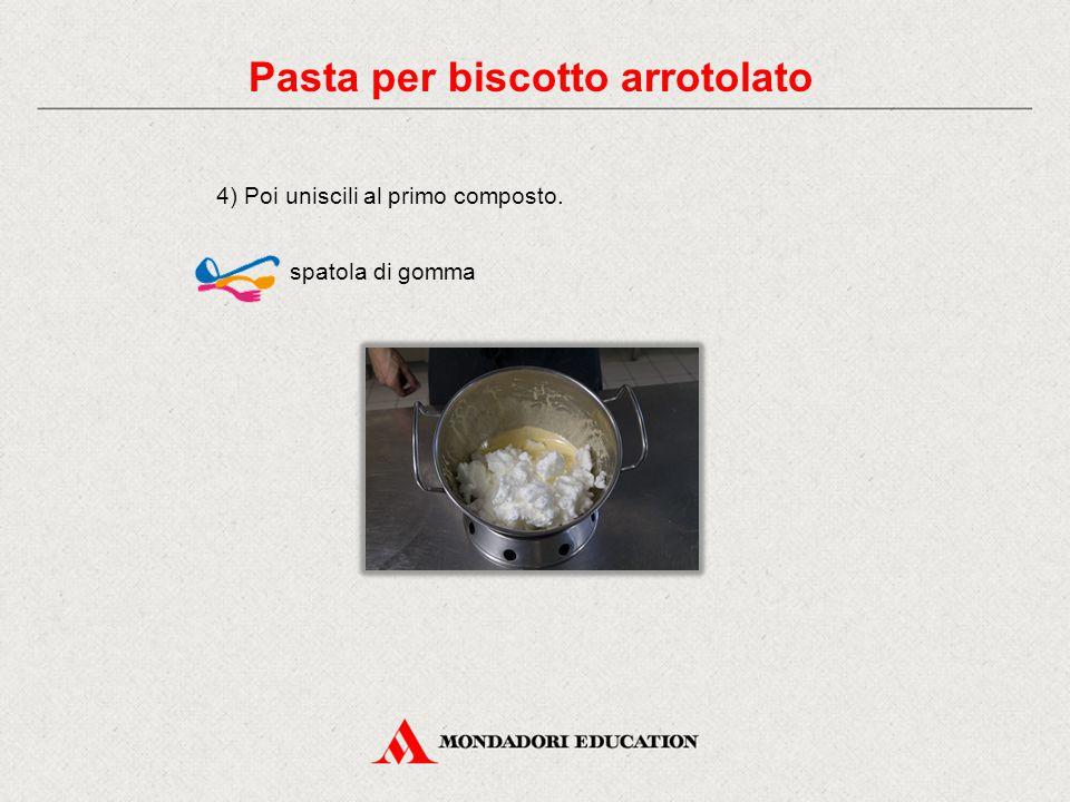 4) Poi uniscili al primo composto. spatola di gomma Pasta per biscotto arrotolato