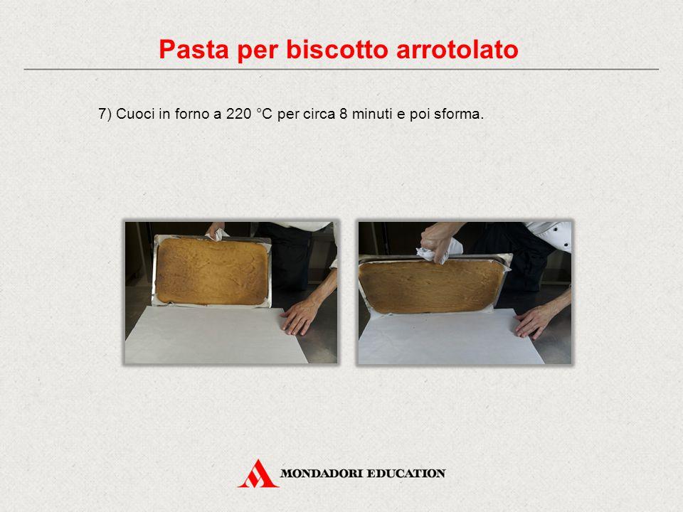 7) Cuoci in forno a 220 °C per circa 8 minuti e poi sforma. Pasta per biscotto arrotolato